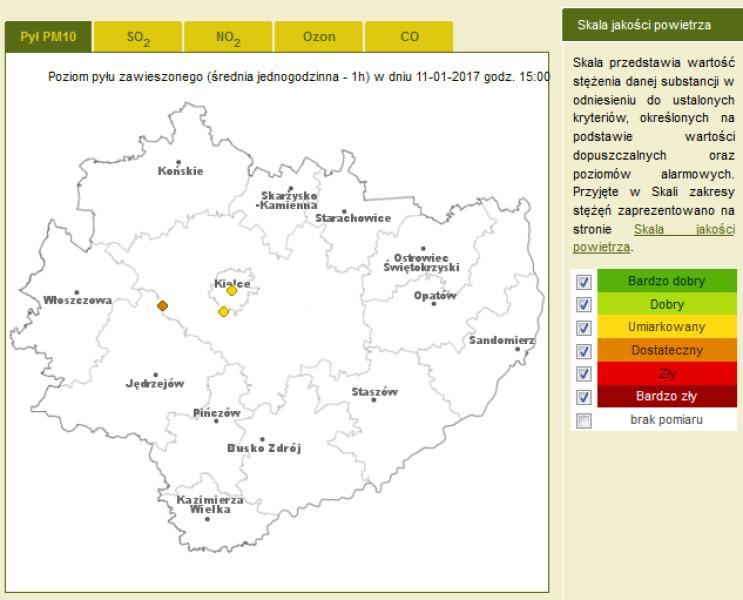 Jakość powietrza w woj. świętokrzyskim (WIOŚ Kielce)