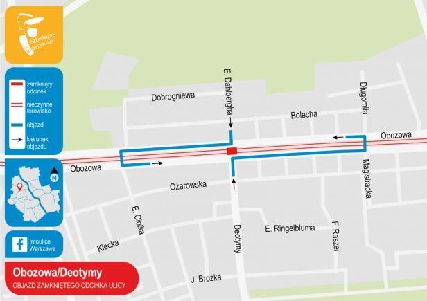 Objazd zamkniętego odcinka ulicy Urząd Miasta