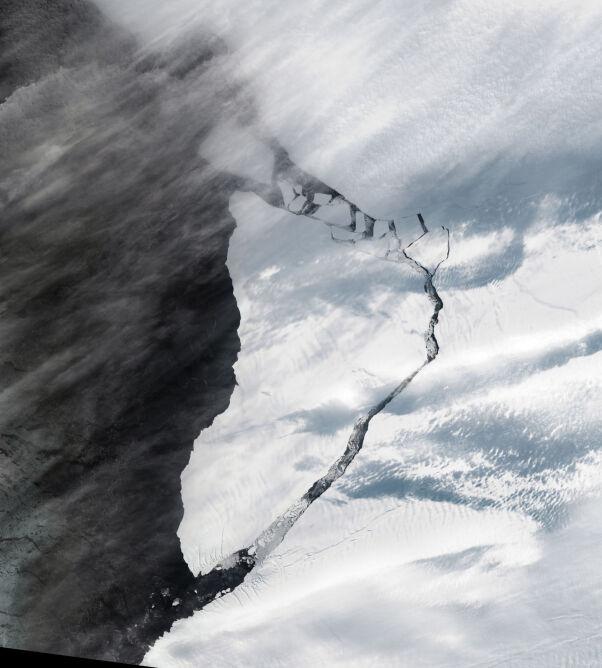 Góra, która oderwała się od lodowca (NASA Earth Observatory)