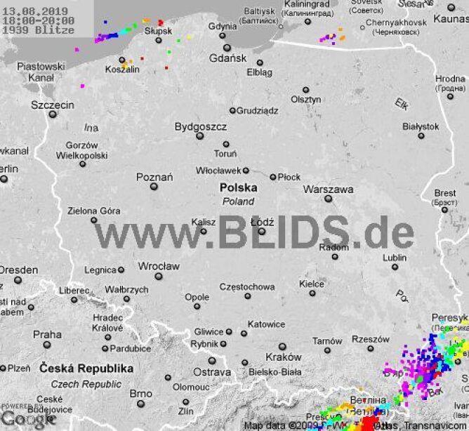 Ścieżka burz w godzinach 18.00-20.00 (blids.de)