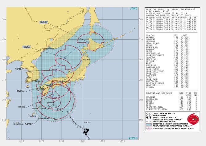 Prognozowana trasa burzy tropikalnej Krosa (https://www.metoc.navy.mil)