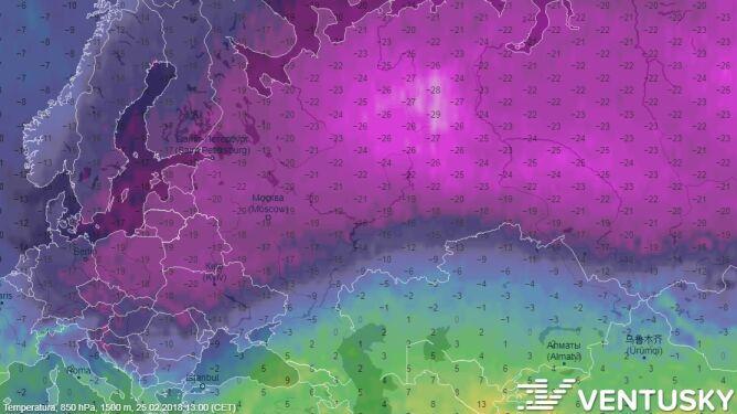 Temperatura w niedzielę na wysokości 1,5 km