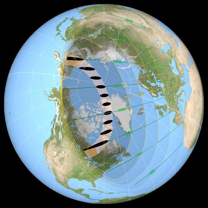 Mapa przedstawia ścieżkę zaćmienia Słońca 10 czerwca. Zaznaczone są też miejsca, gdzie nastąpi częściowe i obrączkowe zaćmienie (NASA's Scientific Visualization Studio/Ernie Wright)