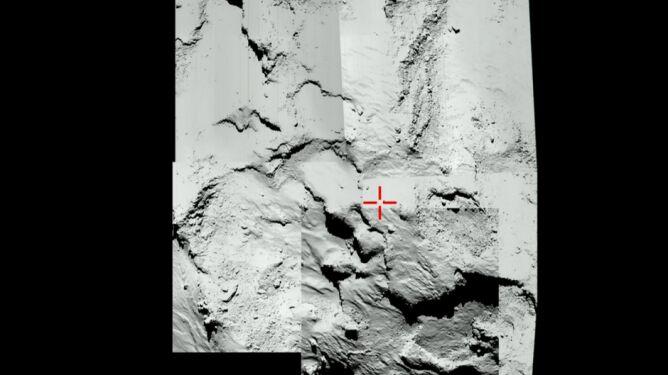 Na czerwono oznaczono miejsce pierwszego lądowania
