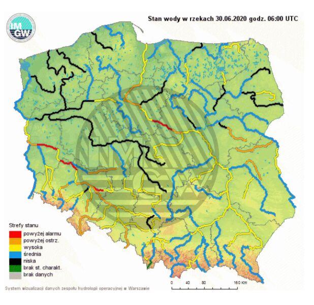 Stan wody w rzekach 30 czerwca o godzinie 8 (pogodynka.pl/polska/hydro)