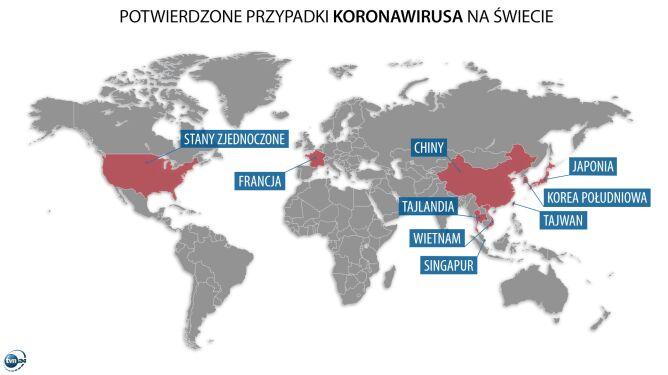 Potwierdzone przypadki koronawirusa na świecie (tvnmeteo.pl za China's National Health Commision)