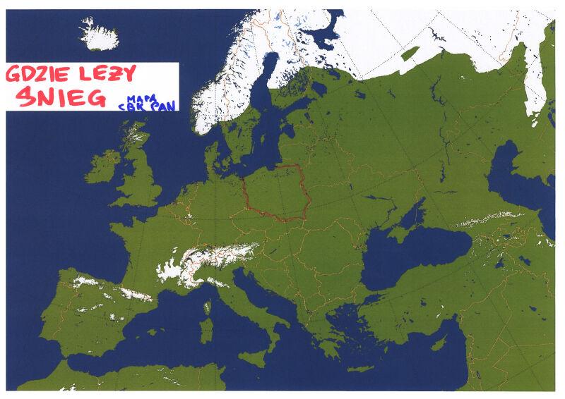 Pokrywa śniegu w Europie (CBK PAN)