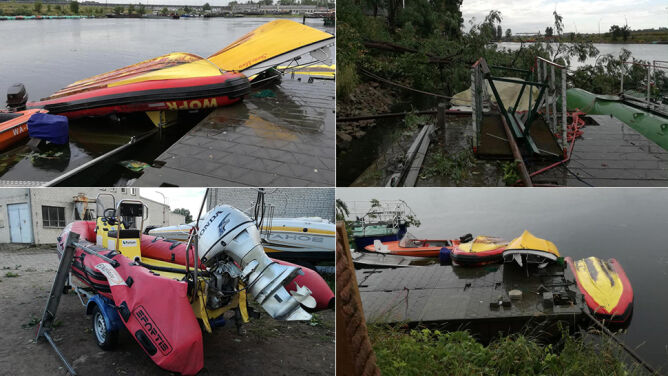 Półtonowa łódź poderwana na metr do góry. Skutki trąby powietrznej w Płocku