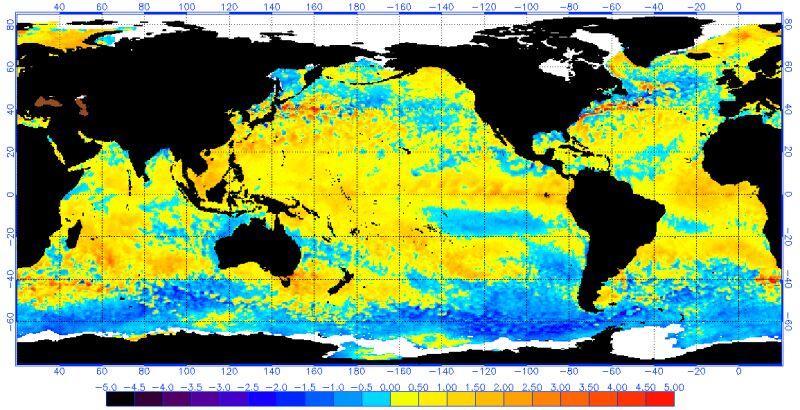 Odchylenie od średniej temperatury powierzchni oceanu 31 grudnia 2018 roku (NOAA)