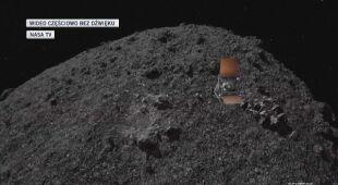 Animacja pobrania próbki z asteroidy Bennu